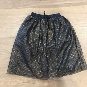 Zara girl black and gold skirt 4